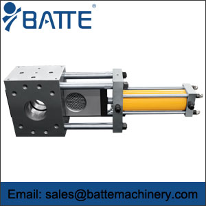 Single piston discontinuous screen changer